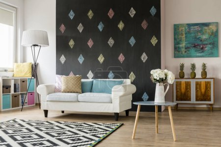 Modern living room in pastel colours