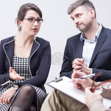 Photo for Quarrel in marriage and discussion on couple psychotherapy - Royalty Free Image