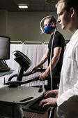 Sportsman walking on a treadmill