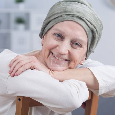 Elegant oncology patient with headscarf