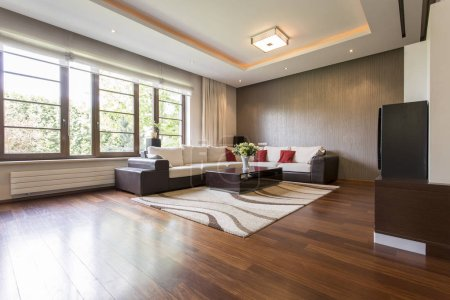 Photo for Modern living room design with brown parquet - Royalty Free Image