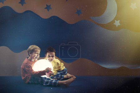 Boys surrounded by night background