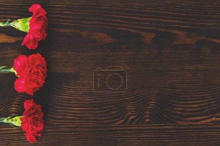 Photo pour Trois oeillets rouges couchés sur une table rustique en bois - image libre de droit