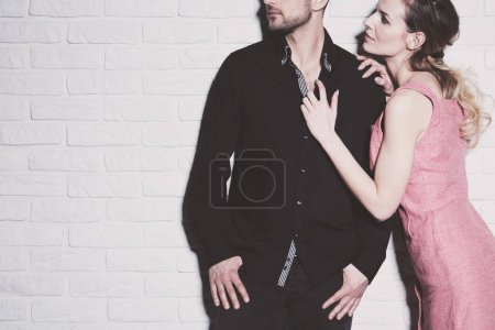 Photo for Close relationship between young man and pretty woman - Royalty Free Image