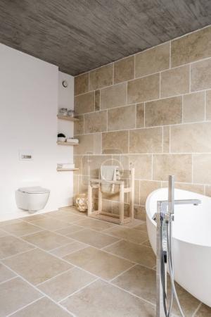 Roomy minimalistic bathroom