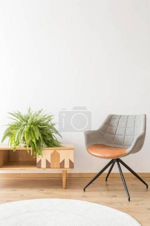 Simple office with gray chair