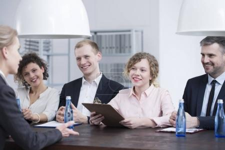 Smiling recruiters during job interview