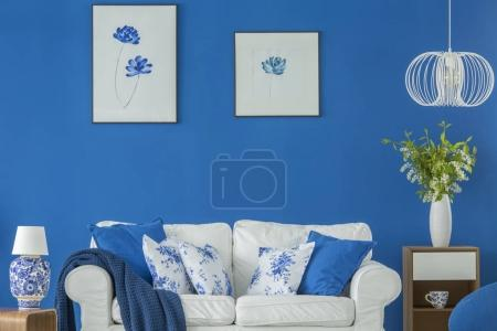 Salon floral bleu