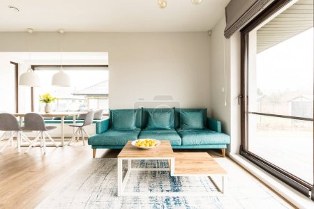 Turquoise open space interior