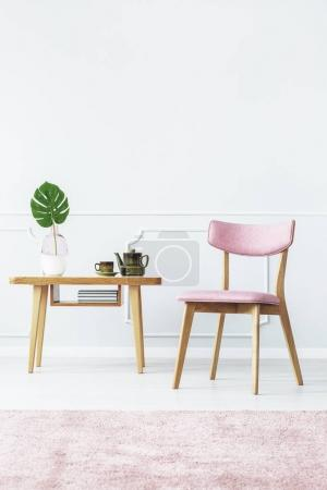 Simple pink living room interior