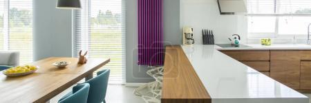 Modern violet kitchen interior