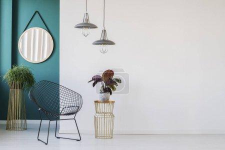 Photo pour Plante sur table dorée à côté du fauteuil noir dans le salon minimaliste intérieur avec lampes et miroir rond - image libre de droit