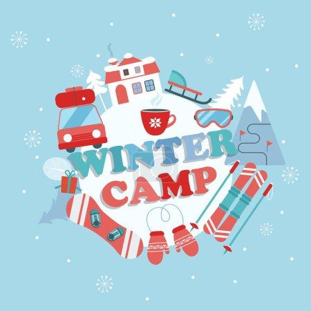 Illustration pour Noël vacances et voyage thème affiche de camp dans le style plat, illustration vectorielle de bannière de camp d'hiver . - image libre de droit