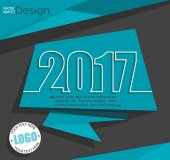New 2017 year greeting business card made in origami style vector