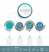 Vector illustration infographic template with 3D circles paper label business template for presentation Creative concept for infographic diagram flowchart workflow layout Line business icon set