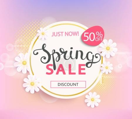 Spring sale label with flowers