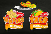 Set od traditional Mexican food logos