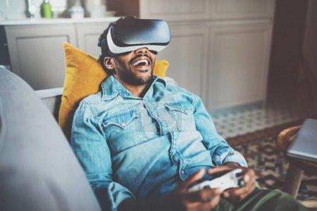 african man enjoying virtual glasses