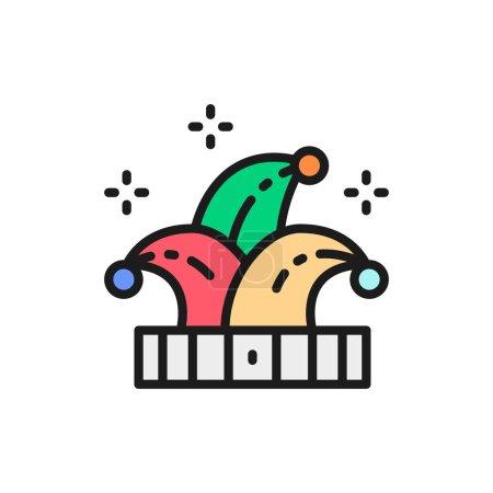 Vector jester hat, joker, clown flat color line icon.