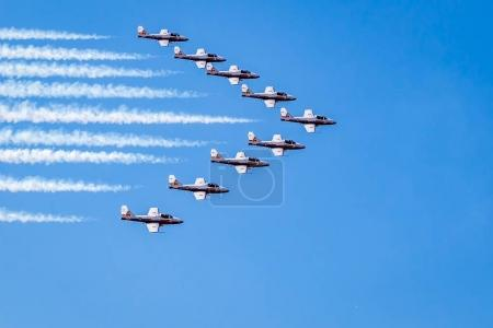 The Canadian Snowbirds performing at an air show...