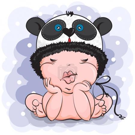 Illustration pour Le bébé avec le chapeau en forme de panda. Le gamin est assis les yeux fermés. Le fond est bleu clair avec des points blancs comme la neige . - image libre de droit