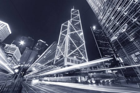 Photo for Traffic in central district of Hong Kong city at night - Royalty Free Image