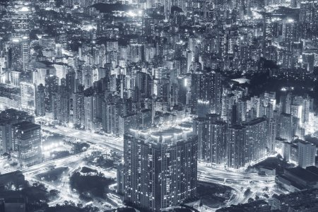 Photo for Night scene of aerial view of Hong Kong City - Royalty Free Image
