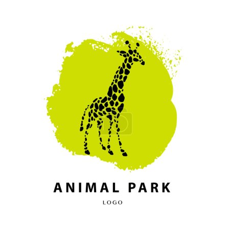 Illustration for Vector giraffe logo illustration. Wild animal logo. Giraffe icon good for park, shelter, reserve, pet shop, touristic, safari travelling company, cosmetic brand, kid toys store. - Royalty Free Image