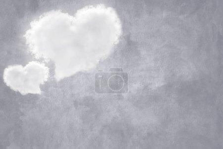 Photo pour Manches en nuage forme estampillé sur ol texture béton pour valentine et de fond du mariage. - image libre de droit