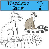 Educational game: Numbers game Little cute lemur sits and smiles