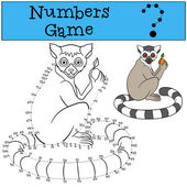 Educational game: Numbers game with contour Little cute lemur sits and smiles