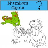 Educational game: Numbers game Cute green iguana sits and smiles