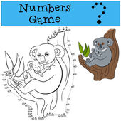 Educational game: Numbers game with contour Mother koala sits on the tree branch with her little cute baby and smiles