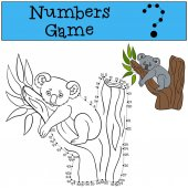 Educational game: Numbers game Little cute baby koala sits on the tree branch and smiles