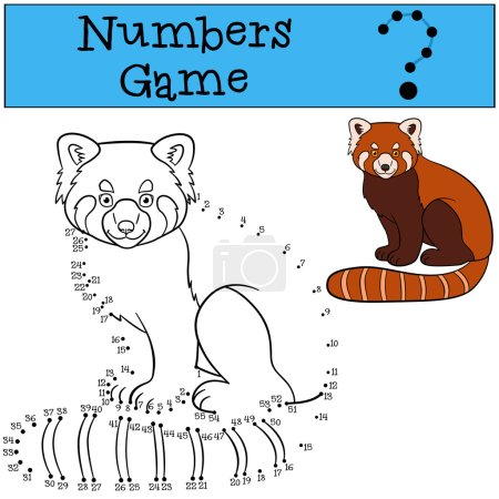 Illustration pour Jeu éducatif : Chiffres jeu. Petit panda rouge mignon s'assoit et sourit . - image libre de droit