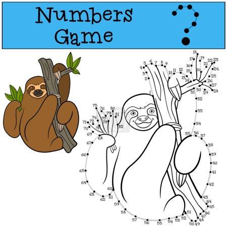 Illustration pour Jeu éducatif : Jeu de chiffres avec contour. Mignon paresseux paresseux paresseux pend sur la branche de l'arbre et sourit . - image libre de droit