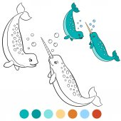 Coloring pages: narwhal Two little cute narwhals smile