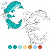 Coloring pages: narwhal Mother father and baby narwhals
