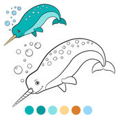 Coloring pages: narwhal Little cute narwhal swims