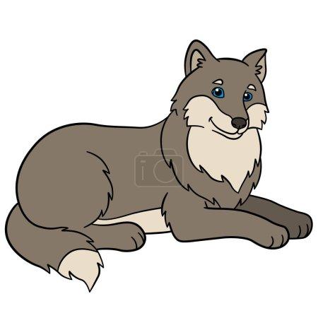 Illustration pour Animaux de dessins animés. Beaux sourires de loup mignon . - image libre de droit