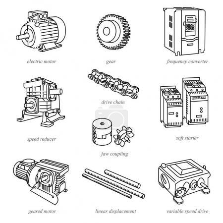 Ilustración de Ilustraciones de línea de la tecnología como motores y reductores / tecnología y piezas en línea estilo con nombres - Imagen libre de derechos