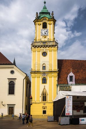 historic tower of town hall in bratislava