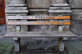South Africa, Cape Town: the bench Non Whites only by the artist Roderick Sauls