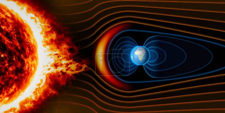 Photo for Earth's magnetic field, the Earth, the solar wind, the flow of particles. Sun - Royalty Free Image