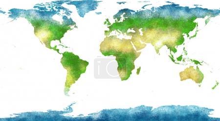 Weltkarte, handgezeichnet, bebilderte Pinselstriche, geographische Karte, physische