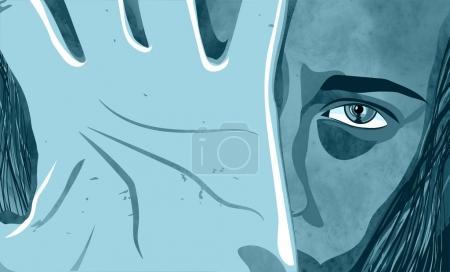 Photo pour Dépression féminine, abus, coups, fille, enfant, violence contre les femmes - image libre de droit