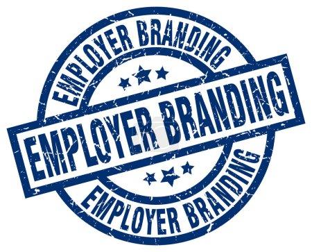 Illustration pour Employeur marque bleu rond timbre grunge - image libre de droit
