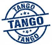 Tango blue round grunge stamp