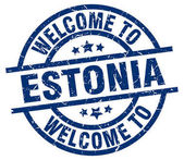 welcome to Estonia blue stamp