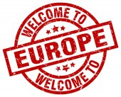 Welcome to europe red stamp